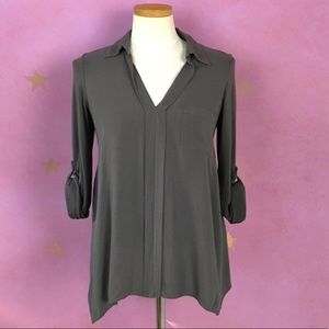 PLEIONE BY ANTHROPOLOGIE FLOWING GRAY BLOUSE SMALL